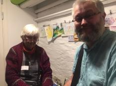 Elsa-Karin Boestad Nilsson med Johan Dahlberg. Johan arbetade hos grannen i väst på Funcom under den tiden då de utvecklade Super Nintendo- och Mega Drive-spel. Han flyttade sedan hem för att bli studiochef på Paradox Interactive.