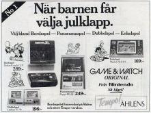 Annons med Tempo och Åhléns som avsändare 1983 där det betonas att originalen så klart kommer från Nintendo.