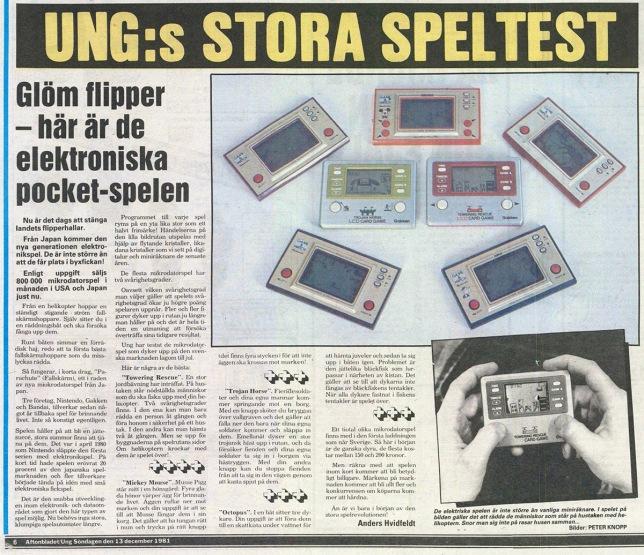 Aftonbladets sektion Ung testade sällskapsspel inför julhandeln och 1981 inkluderades även fickspel i testet. Märkligt nog fick ett av Gakkens spel bättre betyg än Game & Watch som hade betydligt högre kvalitet.