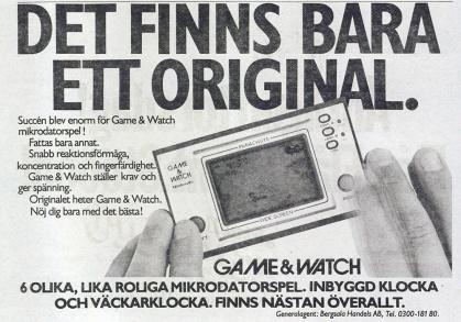 Bergsala betonade i sin annons mars 1982 att Game & Watch är originalet.