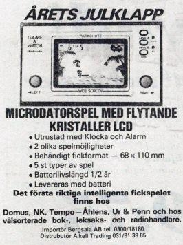 En av de första annonserna för Game & Watch gick i Expressen den 27 november 1981. En liknande kördes i mitten av december i Aftonbladet.