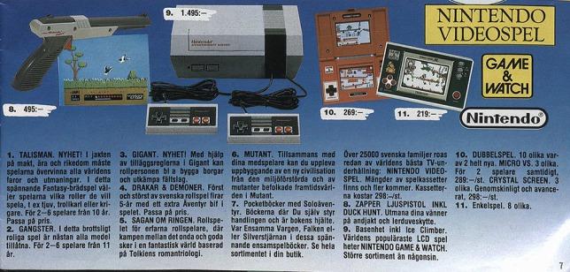 Leksakslandet 87/88 så hade NES börjat få fart under vingarna men var fortfarande i sin linda, så det var givet att fortsätta trycka hårt på de billigare Game & Watch.